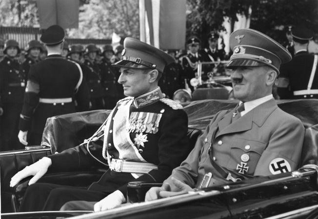 Donovan tried to dissuade Prince Paul, the Regent of Yugoslavia (left), from joining the Axis powers, but without success. Afterward, Donovan convinced anti-Nazi elements to resist Hitler, which resulted in a German invasion in April 1941.