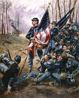 U.S. Regulars calmly wait with their color-bearers to enter battle in Don Troiani's painting, Union Standard Bearer. OPPOSITE: Captain Julius W. Adams, Jr., Class of 1861, in his West Point cadet uniform. Adams commanded the 4th U.S. Regiment at Gettysburg.
