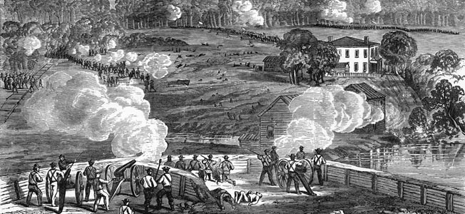 Maj. Gen. Robert Hoke's Confederate artillery opens fire on advancing Union forces across Southwest Creek at Jackson's Mill, North Carolina, 10 days before the Battle of Bentonville.