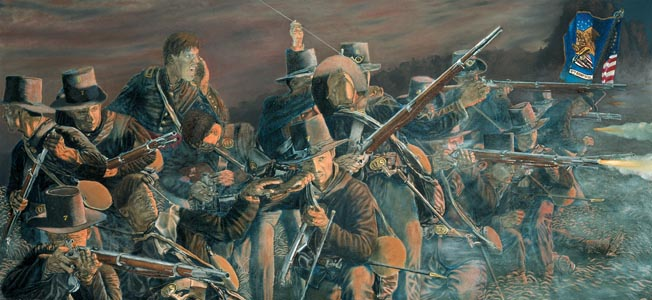 Midwesterners in the 2nd Wisconsin Regiment, sporting the famous black hats of their brigade, fire on the Stonewall Brigade at Brawner's Farm as darkness falls on the battlefield. Painting by Michael Thorson.