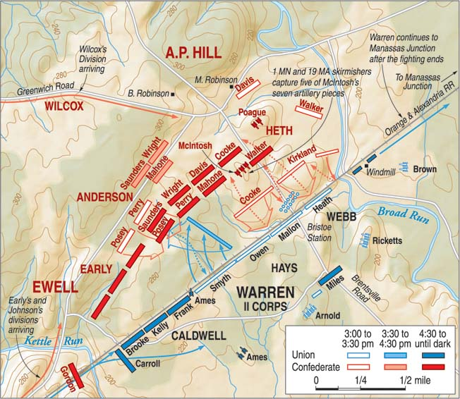 Situated four miles west of Manassas on the Orange and Alexandria Railroad, Bristoe Station was a key crossing point on Broad Run. A.P. Hill's decision to feed more troops into the fight achieved higher casualties, but not victory.