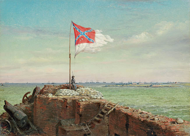 Southern artist Conrad Wise Chapman, himself a Confederate soldier, painted this contemporary watercolor of the tattered flag flying over Fort Sumter in 1863. Wise would become famous for his Charleston sketches.