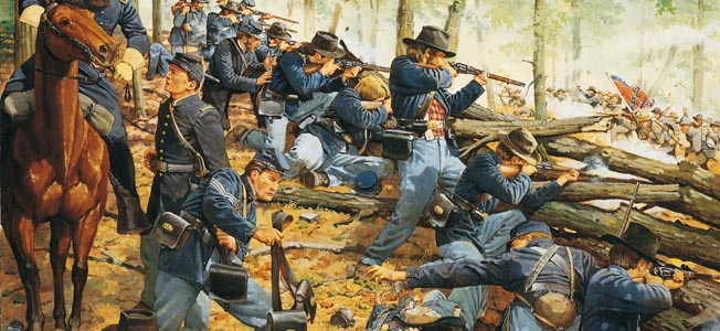 In the deep woods of Chickamauga Creek, wary Union and Confederate soldiers thrashed the the under brush seeking a confrontation to the death.