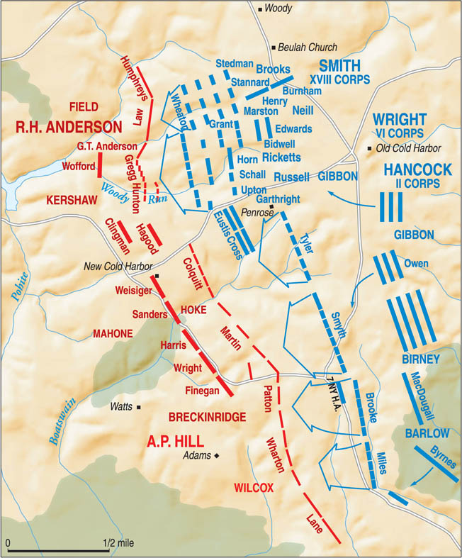 Believing wrongly that Robert E. Lee's weary Confederates could not withstand an all-out assault at Cold Harbor, Lt. Gen. Ulysses S. Grant attacked with three full corps at daybreak on June 3, 1864. The attacks were a gruesome failure.