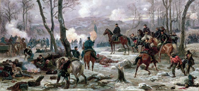 Ulysses Grant (on horseback) watches his men assault the defenses of Fort Donelson in February 1862 in this painting by Paul Phillipateaux. The fort defended the Cumberland River flowing to Tennessee's capital, Nashville.