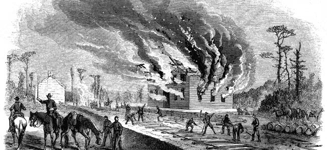 In this Harper's Weekly engraving, Grierson's industrious raiders tear up tracks and burn a rail depot in Mississippi as part of the plan to disrupt Southern Railroad service to the besieged city of Vicksburg.