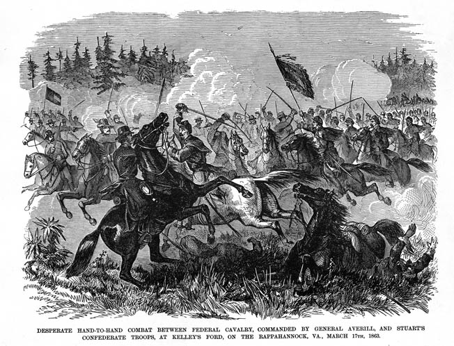 "Harper's Weekly published this dramatic drawing of the cavalry fight at Kelly's Ford, referring to the battle as the war's ""first stand-up cavalry [battle] on a large scale."" The scrap gave the embattled Union troopers a much needed jolt of energy and confidence."