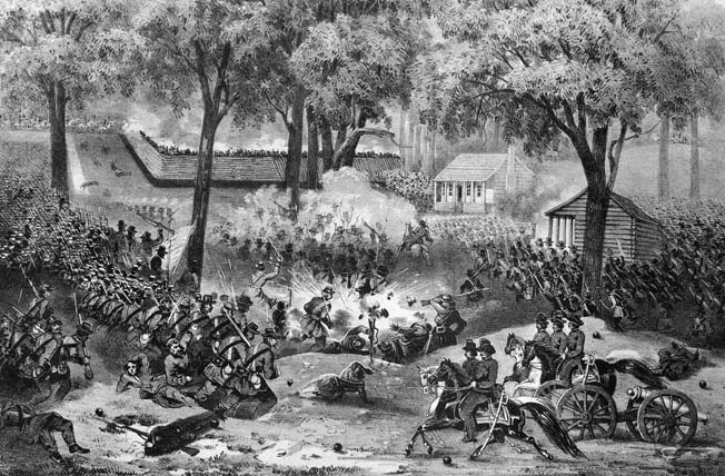 Federal troops assault Confederate breastworks at the Battle of Carnifex Ferry, Virginia, in September 1861. Leading his troops forward, Lytle was wounded in the leg by a Minie bullet that day—the first of several wounds the ill-starred Lytle would suffer.