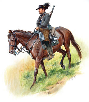 Mounted on a superb Bluegrass thoroughbred, a well-turned-out member of Morgan's 2nd Kentucky Cavalry rides to battle in this painting by Don Troiani.