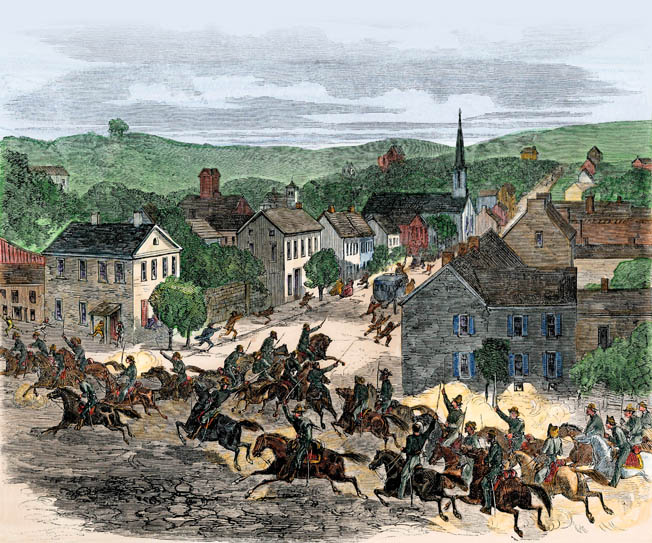 Confederate horsemen led by John Hunt Morgan storm through Washington, Ohio, during their audacious 1863 raid of Ohio and Indiana. It was the northernmost Confederate raid of the war.