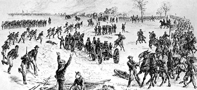 Overwhelmed Confederates surrender after Brig. Gen. Henry Davies's men intercept a wagon train bound from Richmond near Paines Crossroads. The Federals destroyed 200 wagons and captured five guns and numerous prisoners.
