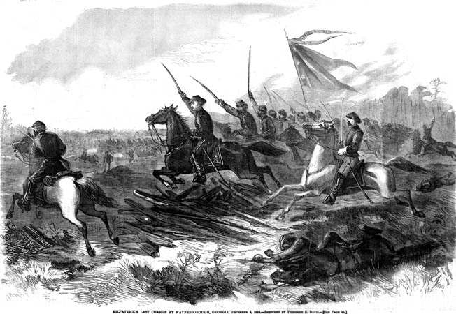 Union cavalry under Brig. Gen. Judson Kilpatrick drive away Maj. Gen. Joseph Wheeler's harassing Confederates at Waynesville, Georgia, on December 2, 1864.