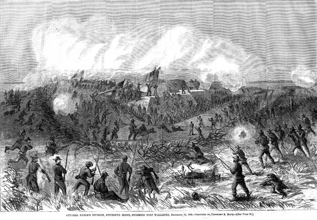 Union infantry attacks Fort McAllister on the outskirts of Savannah. Sherman's old 2nd Division carried the works as their commander watched proudly from the roof of a nearby rice mill.