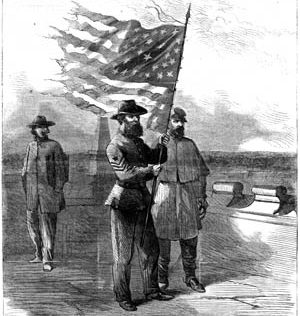 Clockwise from top: A Union color sergeant defiantly waves a tattered American flag on the roof of Georgia's state capitol in Milledgeville, November 22, 1864.