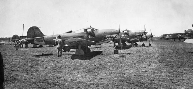 Photographed at Guadalcanal in October 1942, these Bell P-400 Airacobra fighter bombers are obviously battle worn. The Airacobra's cannon and machine gun armament proved well suited to reducing ground targets.