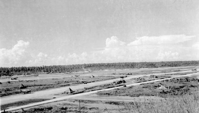 A U.S. plane takes off from the strip made for fighter aircraft at Henderson Field on Guadalcanal. An assortment of U.S. military aircraft dubbed the Cactus Air Force operated from the airfield against Japanese targets.