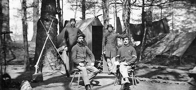 Union soldiers in the Civil War scraped out a crude but comradely life along the Potomac between Washington and Richmond.