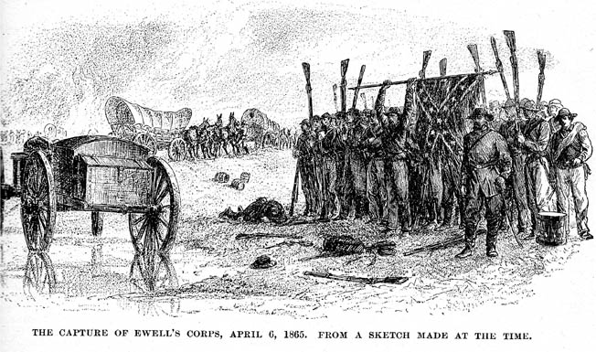 "Lieutenant General Richard Ewell's men invert their muskets and lower their Confederate battle flag at the end of the Battle of Sayler's Creek. ""My God,"" said Robert E. Lee, ""has the army dissolved?"""