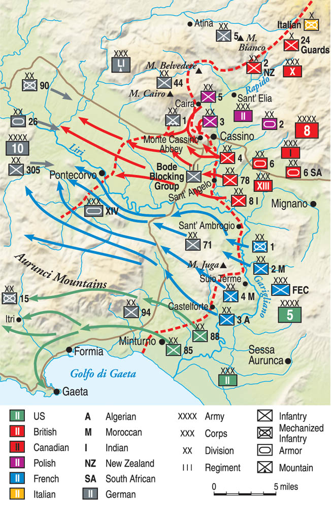 At the end of 1943 the Allied armies battling their way north in Italy came up against the German Gustav Line and ground to a halt.