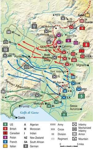 The fourth and final assault (Operation Diadem), begun on May 11 by the British Eighth Army, resulted in a breakthrough of the Gustav Line and the Allied push up into the Liri Valley. Rome fell on June 4, 1944.