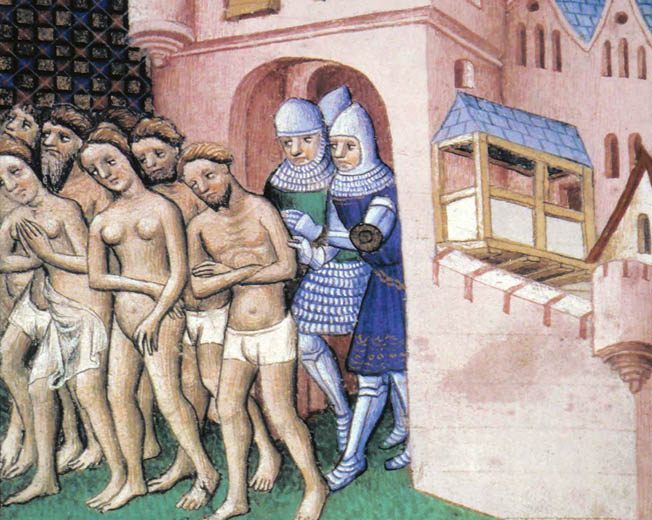 Mail-clad Crusaders expel the residents of Carcassonne during the siege of the city in a manuscript illumination from the Grandes Chroniques de France.