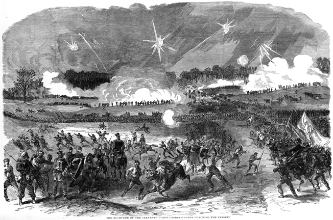 Even the pack animals bolt in fright after Jackson's corps slammed into the XI Corps' flank at Chancellorsville. Only the encroaching darkness slowed the Confederate advance.