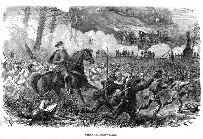 An exultant Lee rides past his equally happy troops as they continue the rout of Union forces at Chancellorsville. It was Lee's high-water mark as a Civil War commander.