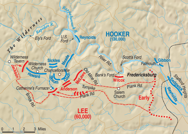 Stonewall Jackson's audacious flank march from below Fredericksburg to Wilderness Tavern, where his II Corps surprised and routed Maj. Gen. Oliver O. Howard's XI Corps.