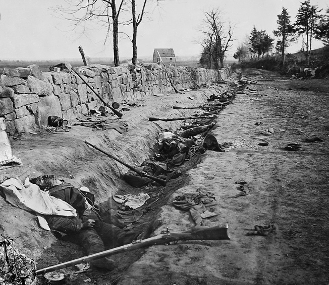 Confederate dead behind the famous stone wall at Marye's Heights above Fredericksburg, Va.