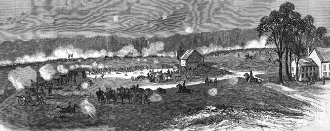 Battle artist Edwin Forbes sketched Union artillery firing into the oncoming Confederates at Chancellorsville on May 1.