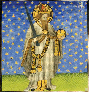Charlemagne, who is depicted in a medieval image, assimilated the Saxons by force of arms.