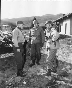 Maj. Gen. Edward M. Almond, U.S. Army X Corps; General David Darr, U.S. Army 7th Infantry Division; and Colonel Allan D. MacLean, U.S. Army 31st Infantry Regiment.