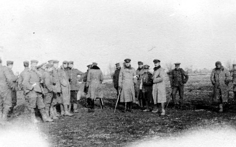 British Northumberland Hussars meet German soldiers in no man's land during a truce in the Bridoux-Rouge Banc Sector.