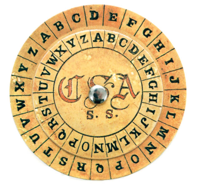 A reproduction of a Confederate cipher disk used for coding secret messages. Cipher disks were first used in the 15th century and were used by both sides during the Civil War to encrypt communications.