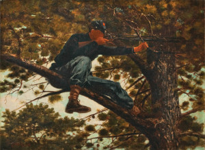 Famed Northern artist Winslow Homer painted this color study of a Union sharpshooter perched precariously atop a tree limb. The sniper's rifle appears to sport a civilian hunting sight, which saw limited use in the war.