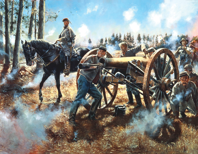John Pelham, in command of his horse artillery, delayed advancing Federal troops at Fredericksburg, Virginia in 1862. Pelham's daring would lead to his death at the Battle of Kelly's Ford exactly six months later. Painting by Don Troiani.