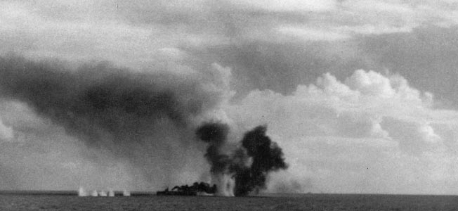 The Escort Carrier Gambier Bay fell to Naval gunfire during the ultimate sea battle of World War II.