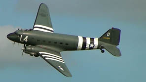 This restored C-47A of the U.S. Army Air Forces, complete with distinctive D-Day recognition stripes, flew from a base in Devon, England, on D-Day, taking part in the invasion of Normandy.