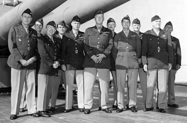 "The faces of General Patton's Western Task Force: Colonel Hobart ""Hap"" Gay, Patton's chief of staff; Patton; Colonel Kent Lambert, chief of operations; Maj. Gen. Geoffrey Keyes, Patton's deputy commander; and Captain Richard Jensen, Patton's aide-de-camp. Gay reprimanded Craig for a vehicle breakdown, while Jensen befriended Craig."