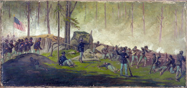 Battlefield artist Edwin Forbes sketched a misleadingly peaceful scene behind Union breastworks on the morning of July 3 at Gettysburg. It was much bloodier and more chaotic than that.