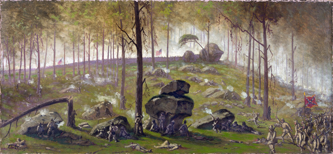Confederates in Colonel Jesse M. Williams's brigade take cover behind some of the huge boulders on Culp's Hill, trading potshots with two New York regiments. The final assault on the hill came before Pickett's Charge on the other end of the battlefield.