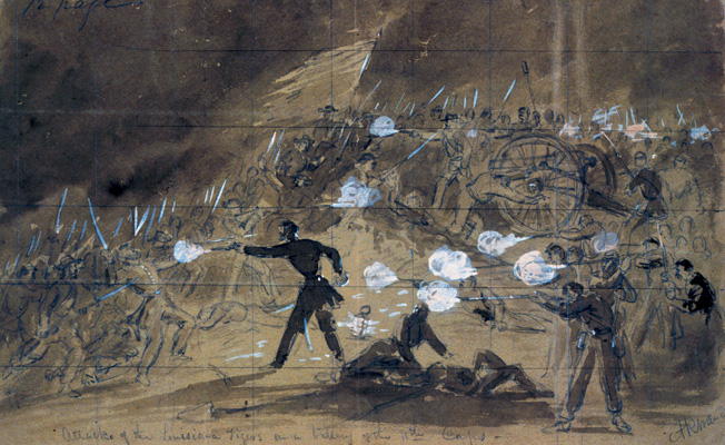 Brig. Gen. Harry Hays's hard-fighting Louisiana Tigers attack a battery of the Union XI Corps on Cemetery Hill as darkness falls on July 2. Confederate II Corps commander Richard Ewell failed to support Hays's assault.