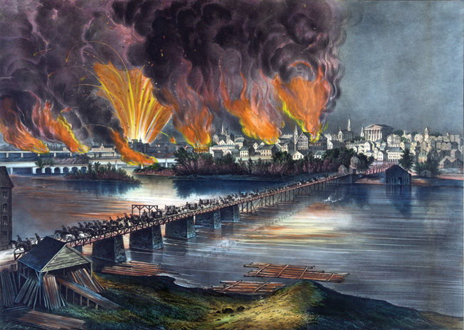 Richmond burns in the distance as Confederate troops, government officials, and panicked civilians flee the Confederate capital on the night of April 3, 1865.