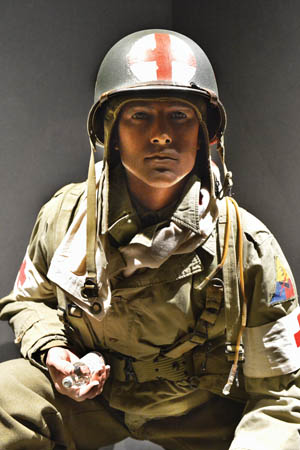 A mannequin representing a medic in the 3rd U.S. Armored Division.