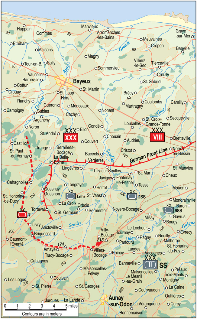Montgomery's plan for taking Caen involved securing the high ground northeast of Villers-Bocage.