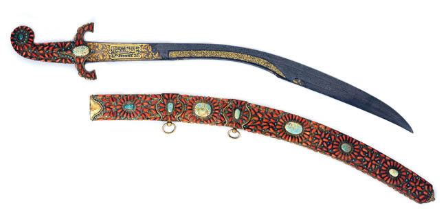 An Ottoman kilij is set with coral and turquoise. The kilij was particularly effective against heavy armor used in the 15th century.