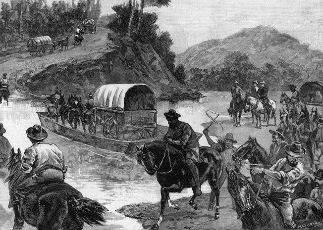 Davis's party, carrying the final $500,000 of the Confederate treasury, crosses the Pee Dee River in South Carolina.