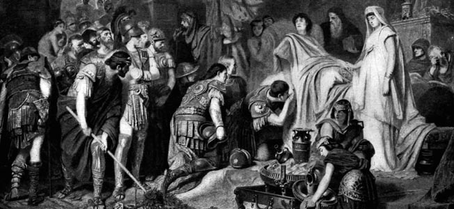 Alexander's premature death in June 323 bc is depicted romantically in an illustration. Whether he died of an illness or was intentionally poisoned remains a source of dispute.