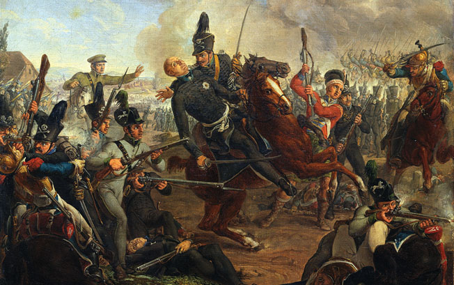 Duke Frederick William of Brunswick bravely led a cavalry charge but was mortally wounded by a musket ball that knocked him from his horse.