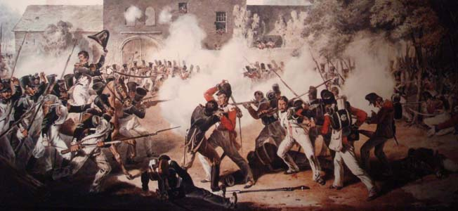 The Allied defenders of Hougoumont fought off French attacks for nine hours, securing Wellington's right flank at the Battle of Waterloo.